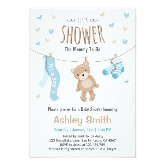 Baby shower teddy bear invitation baby boy zazzle baby shower teddy bear invitation baby boy filmwisefo