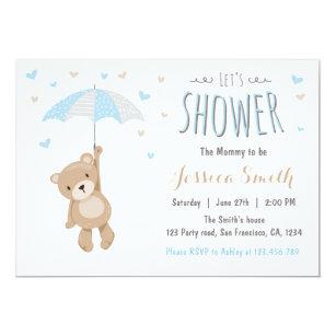 Teddy Bears Girl Baby Girl Shower Invitations Zazzle