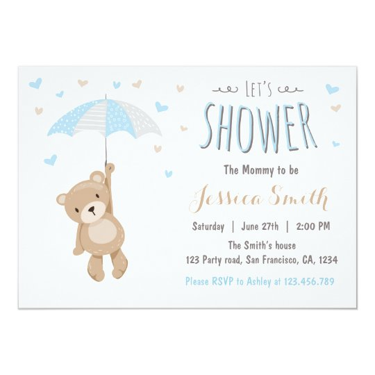 Baby shower teddy bear invitation baby boy blue zazzle baby shower teddy bear invitation baby boy blue filmwisefo