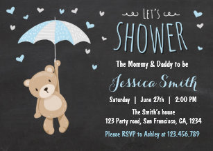 Teddy bear baby shower invitations zazzle baby shower teddy bear invitation baby boy blue filmwisefo