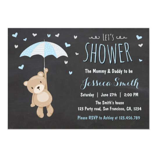 Baby Shower Teddy Bear Invitation Boy Blue