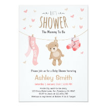 Baby Shower Teddy Bear Invitation Baby Girl pink