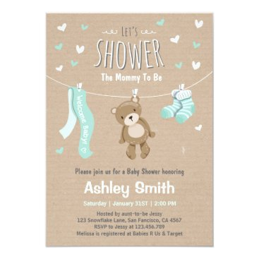 Toddler & Baby themed Baby Shower Teddy Bear Invitation Baby Mint Green