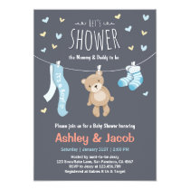 Baby Shower Teddy Bear Invitation Blue Boy shower