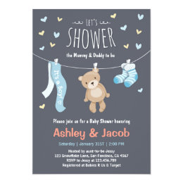 Teddy bear baby shower invitations announcements zazzle baby shower teddy bear invitation blue boy shower filmwisefo Choice Image