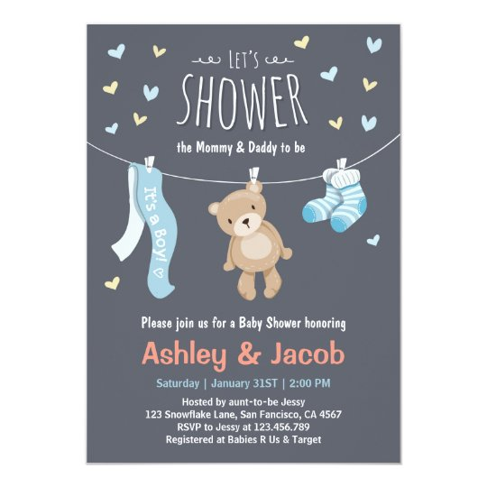 Baby Shower Teddy Bear Invitation Blue Boy shower Zazzlecom