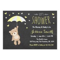 Baby Shower Teddy Bear Invitation Girl Boy Yellow