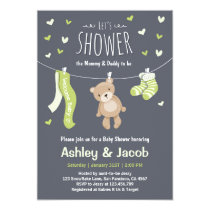 Baby Shower Teddy Bear Invitation Lime Green