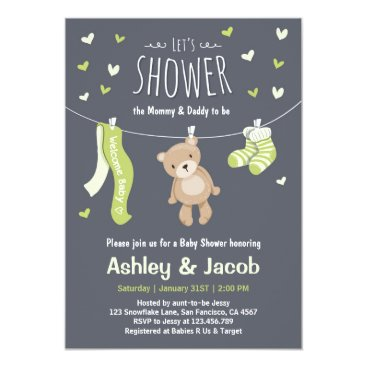 Toddler & Baby themed Baby Shower Teddy Bear Invitation Lime Green