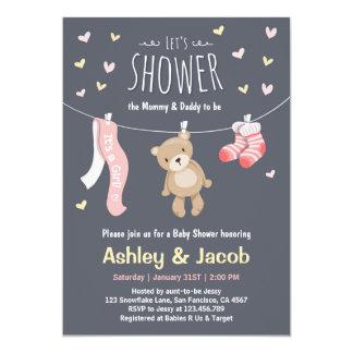Baby Shower Teddy Bear Invitation Pink Girl shower