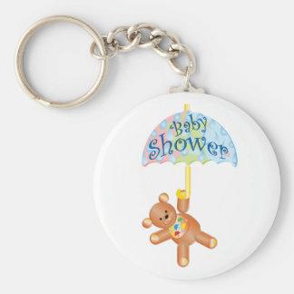 Baby Shower Teddy Bear Basic Round Button Keychain