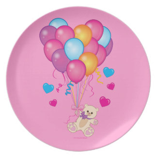 Baby Shower: Teddy with Balloons Pink Party Plates