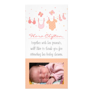 Baby shower Thank You: Baby clothes on clothesline Photo Card