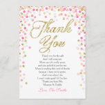 "Baby Shower Thank You Card Confetti Gold pink girl<br><div class=""desc"">♥ A cute and fun baby shower thank you card to thank your guests! Pink and gold confetti.</div>"