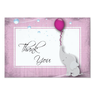 "Baby Shower Thank You Card - Cute Elephant Balloon 3.5"" X 5"" Invitation Card"