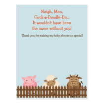 Baby Shower Thank You Card- Farm Animal Theme Postcard