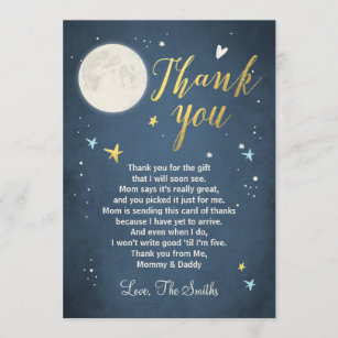 baby shower thank you card love you to the moon