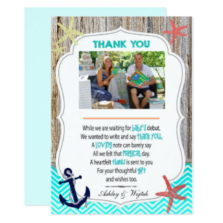 Baby Shower Thank You Card Nautical With Your Phot