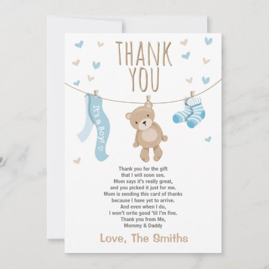 Baby Shower Thank You Card Teddy Bear Blue Zazzle Com