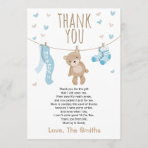 Baby Shower Thank You Card Teddy Bear blue