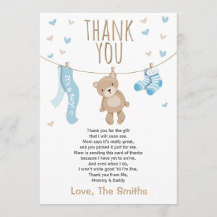 Thank You Letter For Baby Shower.Baby Shower Thank You Card Teddy Bear Blue