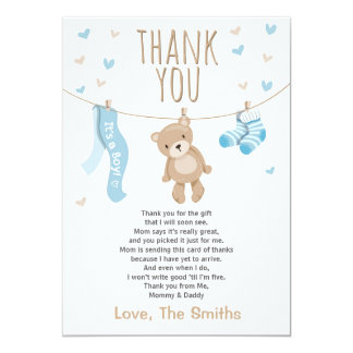 Delightful Baby Shower Thank You Card Teddy Bear Blue