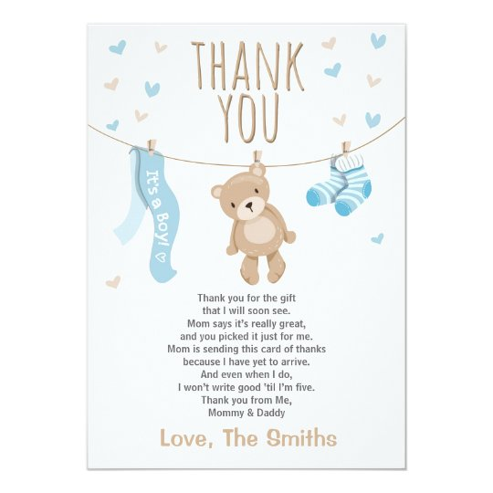 Superior Baby Shower Thank You Card Teddy Bear Blue