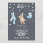 "Baby Shower Thank You Card Teddy Bear blue<br><div class=""desc"">♥ A cute and fun baby shower thank you card to thank your guests!</div>"