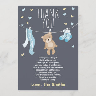 Baby shower cards zazzle baby shower thank you card teddy bear blue m4hsunfo