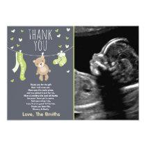 Baby Shower Thank You Card Teddy Bear Green