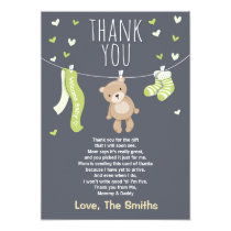 Baby Shower Thank You Card Teddy Bear Lime green