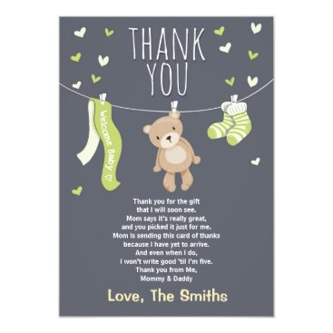 Toddler & Baby themed Baby Shower Thank You Card Teddy Bear Lime green