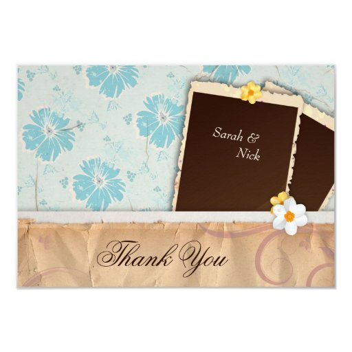 Vintage Baby Shower Thank You Cards: Baby Shower Thank You Card - Vintage Photo Paper