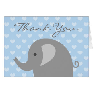 Baby Shower thank you card with cute grey elephant