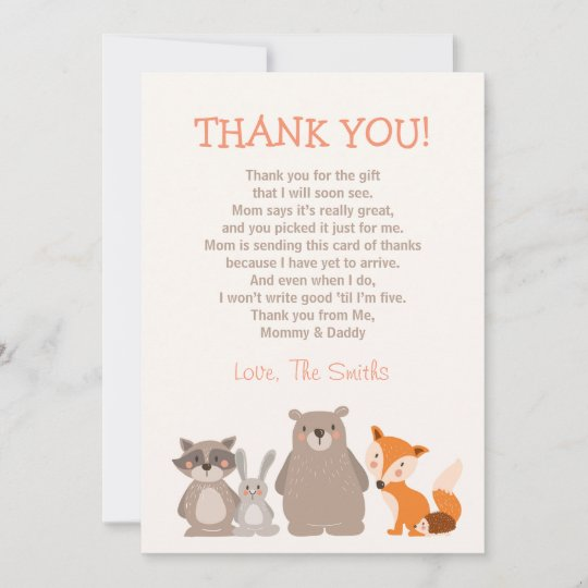 Baby Shower Thank You Card Woodland Zazzlecom