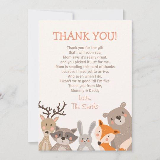 Baby Shower Thank You Card Woodland Zazzle