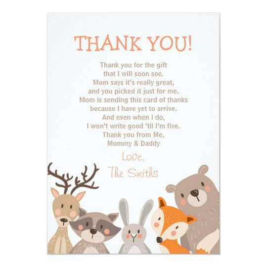 Captivating Baby Shower Thank You Card Woodland