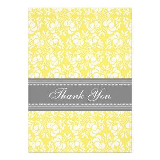 Baby Shower Thank You Cards Lemon Gray Damask
