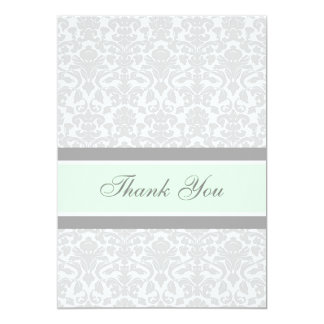 Baby Shower Thank You Cards Mint Gray Damask