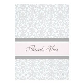 Baby Shower Thank You Cards Pink Gray Damask