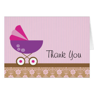 Baby Shower Thank You Cards Purple Stroller