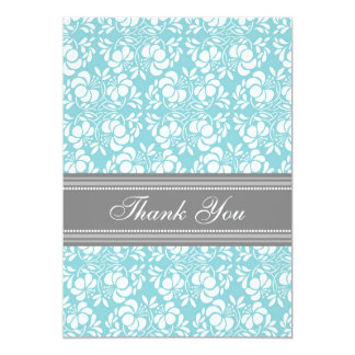 Baby Shower Thank You Cards Teal Gray Damask