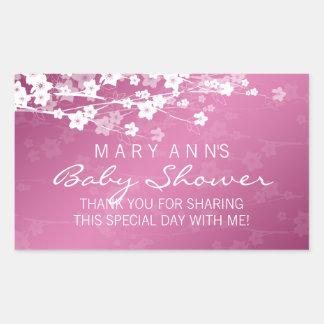 Baby Shower Thank you Cherry Blossom Pink Rectangular Sticker
