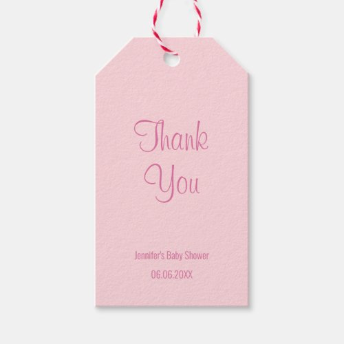 Baby Shower Thank You Chic Blush Pink Simple Gift Tags