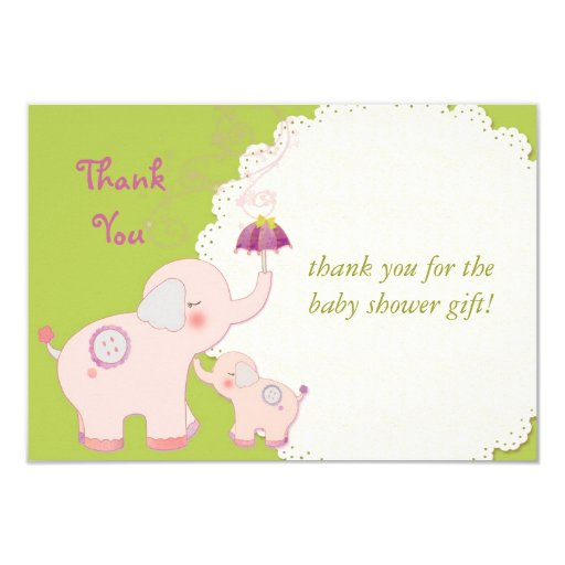 """Baby Shower Thank You Flat Cards: Pink Elephants 3.5"""" X 5"""" Invitation Card"""