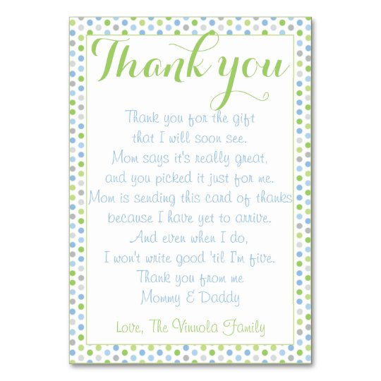 Thank You Quotes For Baby Gift: Baby Shower Thank You From Baby Table Number