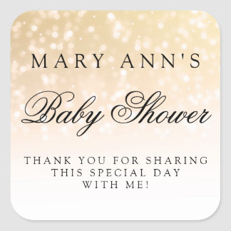 Baby Shower Thank you Gold Bokeh Sparkle Lights Square Sticker