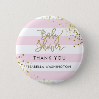 Baby Shower Thank You Gold Calligraphy & Confetti Pinback Button