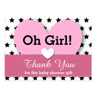 BABY SHOWER THANK YOU Hearts Stars V06E PINK Postcards