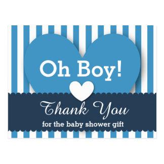 BABY SHOWER THANK YOU Hearts Stripes V05 BLUE Postcard